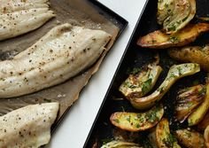 Roast Trout and Vegetables with Horseradish Vinaigrette Recipe - Bon Appétit Relish Recipes, Man Food, Quick Recipes, Healthy Recipes, Fish Dishes, Bon Appetit, Seafood Recipes, Gastronomia, Gourmet