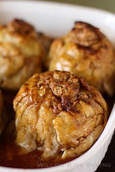 Baked Caramel Apple Cheesecake Dumplings Recipe ~ Baked Apple Dumplings with a cinnamon cheesecake center. These are a heavenly fall dessert!