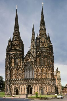 Lichfield Cathedral. Hubby and I climbed right to the top of the tower. We could see for miles. As a youngster, I would attend services here.