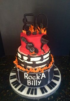 Rock N' Roll themed Happy Birthday Cake