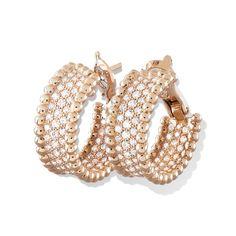 Van Cleef & Arpels Perlée earrings with diamonds, 3 rows Perlée Pink gold, Diamond