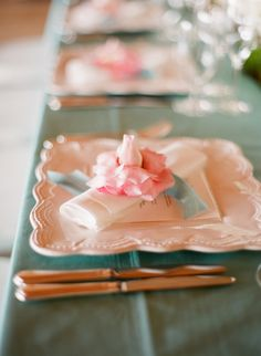 Pretty pale pink wedding place setting, photo by Elizabeth Messina Photography