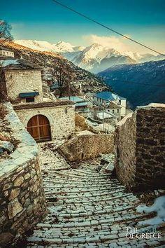 Traditional village in Greece. Zagorohoria, Epirus Region of Greece.