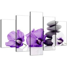Five Part Set of Living-Room Purple Canvas Picture Flower Canvas Wall Art, Canvas Wall Art, White Flowers, Living Room White, Purple Wall Art, Purple Living Room Furniture, Large Flowers, Wall Art Living Room, Grey And White