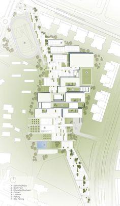 Gradient color for landscape in a site plan::