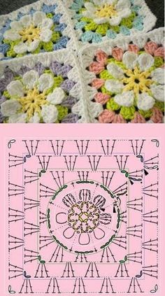 Crochet Motifs, Christmas Crochet Patterns, Granny Square Crochet Pattern, Crochet Stitches Patterns, Motifs Granny Square, Crochet Squares Afghan, Crochet Crafts, Crochet Projects, Crochet Shawl Diagram