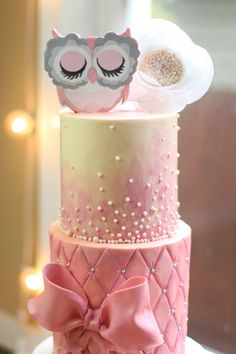 Owl theme baby shower cake