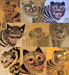Asian Tigers, Sweet Drawings, Symbolic Art, Traditional Japanese Art, Asian Tattoos, Tibetan Art, Tiger Art, Indian Folk Art, Korean Art
