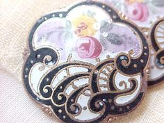 Vintage enameled Victorian buttons.