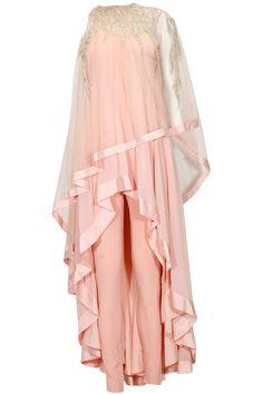 Peach pink thread embroidered asymmetic cape kurta set