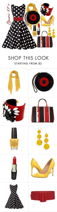 """""""Red and Yellow with a Black and White Polka Dot Dress"""" by staci-6 ❤ liked on Polyvore featuring Chanel, Prada, OPI, BaubleBar and Ivanka Trump"""