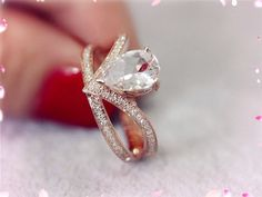 14K Rose Gold Pear Teardrop Morganite Ring