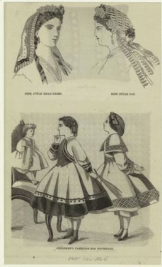 In the Swan's Shadow: Children's fashions & headwear. Peterson's Magazine, November 1864.  Civil War Era Fashion Plate