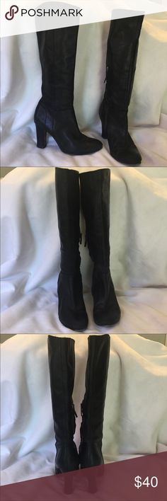 "TV Worn Sam Edelman Black Leather High Heel Boots TV Worn Sam Edelman Black Leather High Heel Boots. Gently used on the Disney show ""Lab Rats"". Size 8. 3.5"" heel. 18"" to top including heel. 13"" calf opening Sam Edelman Shoes Heeled Boots"