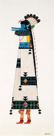 Zuni Shalako Figure  ca. 1925-1930 Awa Tsireh Born: San Ildefonso Pueblo, New Mexico Died: San Ildefonso Pueblo, New Mexico watercolor, ink, and pencil on paperboard sheet: 15 1/8 x 6 1/2 in. (38.3 x 16.5 cm) Smithsonian American Art Museum