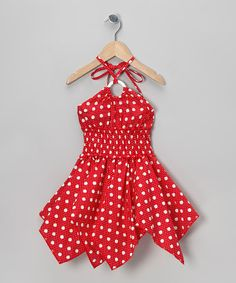 Look what I found on #zulily! Red Polka Dot Handkerchief Dress - Toddler & Girls by Lele for Kids #zulilyfinds