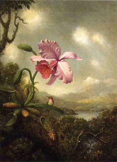 The Athenaeum - Hummingbird and Orchid: Sun Breaking Through the Clouds (Martin Johnson Heade - circa 1890-1904)