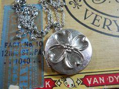 Dogwood Locket  Vintage Silver Brass Charm by WillowandQuinn, $26.00