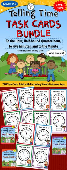 Save 20% on this Telling Time Task Cards BUNDLE! It has a total of 240 task cards which you may assign for individual practice, as a pair/group activity, or use in a scoot game with your students. $