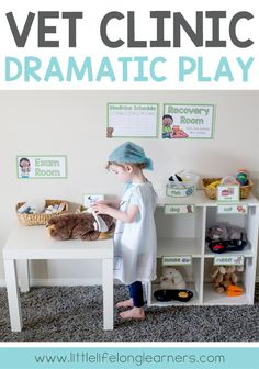 Vet Clinic Dramatic Play Area Vet Clinic Dramatic Play Area Ideas For Setting Up A Vet Clinic Imaginative Play Area At Home Or In The Classroom Prep And Foundation Teaching Ideas Play Ideas For Toddlers And Preschoolers Totschool And Homeschooling Dramatic Play Area, Dramatic Play Centers, Preschool Dramatic Play, Preschool Classroom Setup, Preschool Activities, Summer Activities, Family Activities, Preschool Centers, Preschool Education