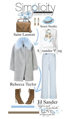 """""""Simplicity: Sky and Earth"""" by terrelyn-thomas-no-tags ❤ liked on Polyvore featuring Jil Sander Navy, Rebecca Taylor, T By Alexander Wang, Hermès, Yves Saint Laurent, Sensi Studio and Oscar de la Renta"""