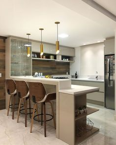 unordinary kitchen colors design ideas that looks cool 29 ~ Small Apartment Kitchen, Home Decor Kitchen, Home Kitchens, Kitchen Ideas, Kitchen Modular, Modern Kitchen Cabinets, Kitchen Bar Design, Interior Design Kitchen, Kitchen With Bar Counter