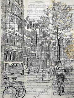 Indian Ink applied using paint brush. Amsterdam by Sarah-Alice Miles.