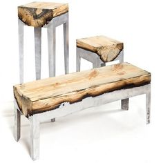 Burnt wood bench