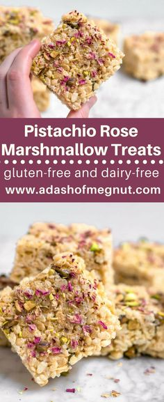 Gluten-free pistachio rose marshmallow treats are a quick and easy dessert that is not only elegant, but also approachable. Who doesn\'t love a rice krispies treat? A childhood favorite, this version is elevated with sophisticated flavors, rose and pistachio. Sweet and salty, gooey and crunchy. Dairy-free and vegan options, too! Perfect for Easter, Mother\'s Day, or a bridal shower? Gluten-free entertaining made simple and easy. #glutenfree #dairyfree #vegan #entertaining