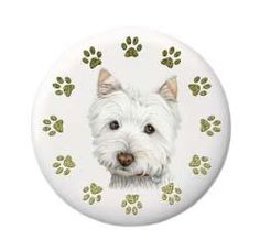 Cute Westie Dog and Paws Art Badge/Button by BitsnBobs for $2.32