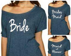 Set of Bride T-Shirt, Bridesmaid Shirt, Maid of Honor Shirt, Sweatshirt… Bridesmaid Shirts, Bridesmaids And Groomsmen, Wedding Bridesmaids, Bridesmaid Dresses, Wedding Dresses, Sister Wedding, Friend Wedding, Our Wedding, Dream Wedding