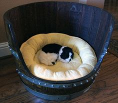 Perfect bed for your pup, while recycling a wine barrel - parfait!