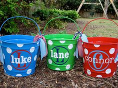 Personalized Easter buckets. Really cute. Could totally do this myself.