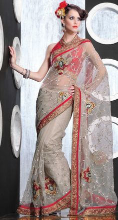 Grey Net Saree 18988 With Unstitched Blouse