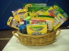PTO Gift Basket Raffle (Drawing on December 13th) Tickets $1ea or 6/$5  Crayola Basket -‐Doodle pad, 64ct crayons, carrying  bag, markers, paint, glitter glue, color wonder markers/paper, water color paints, tiny tube color wonder, paint brushes, color switch markers.