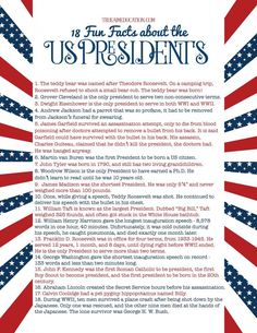 The Presidents Unit Study Freebie List of Presidents Freebie, with 18 Fun Facts about the Presidents for homeschool or classroom study List Of Presidents, American Presidents, American History, Us Presidents Timeline, American Soldiers, British History, Native American, Teaching Social Studies, Teaching History