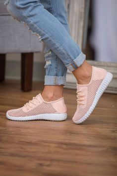 The Bonnie Knit Sneakers Light Peach - The Pink Lily