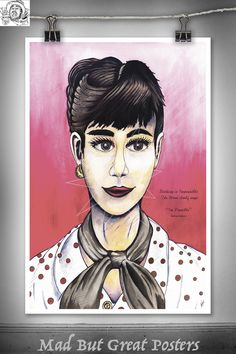 Audrey Hepburn - Thomas Spencer, original poster, painting, retro, wall art, home decor, gift, fashion print, vogue, fine art, illustration by MadButGreatPosters on Etsy