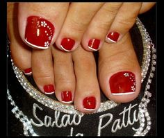 Red Toenail With White Flowers Nail Design - http://easynaildesigns.org/red-toenail-white-flowers-nail-design/