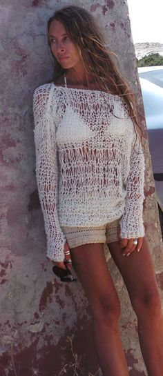 Ivory sweater boho sweater womens Ivory white lightweight