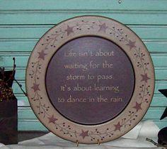 Life Isn't About Waiting for... Plate-Life Isn't about waiting Plate,Country Primitive Decor,Country Home Decor,Insperational Home Decor,Dan...