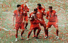 Sebastian Rode, Robert Lewandowski, Claudio Pizarro, Thomas Müller & Rafinha #FCBayern #DeutscherMeister