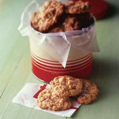This oatmeal cookie recipe uses coconut, oats, and rice cereal for crisp and tender cookies that will be a cookie jar favorite!