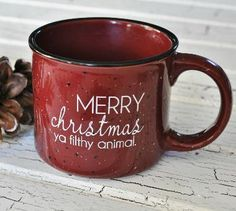 Merry Christmas Ya Filthy Animal! Funny Coffee Mug (Red) from jessicandesigns
