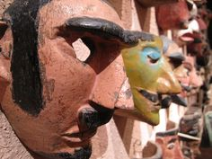 mexican masks - in the USA it is hard to imagine the current use of these dance masks but the dances are real & meaningful - for more on Mexico visit www.mainlymexican.com #Mexico #Mexican #mask