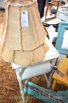 Burlap lampshades. Beautiful! Bella Rustica via Restore Interiors.