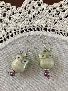 Ready To Ship Owl Earrings Owl Lover Green Owl Earrings