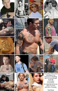 """Tattoos on Tom Hardy…(1/2)    < Meanings of Tom Hardy's Tattoo >  1. A Leprechaun (Tom got this one at 15, an ode to his Irish heritage on his mother's side)  2. some artisan design  3. """"Till I die SW"""" (for his ex-wife Sarah Ward)  4. A large dragon (an ode to his now ex-wife Sarah Ward, who was born in the year of the dragon) with """"Lindy King"""" (Tom's long time agent. Tom has pormised he'd get a tattoo if Lindy got him into Hollywood)  5. Scor"""
