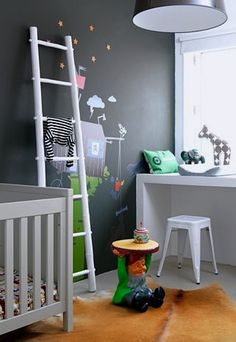 baby nursery storage with repurposed ladder