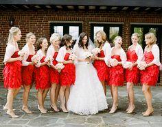 short red bridesmaid dress